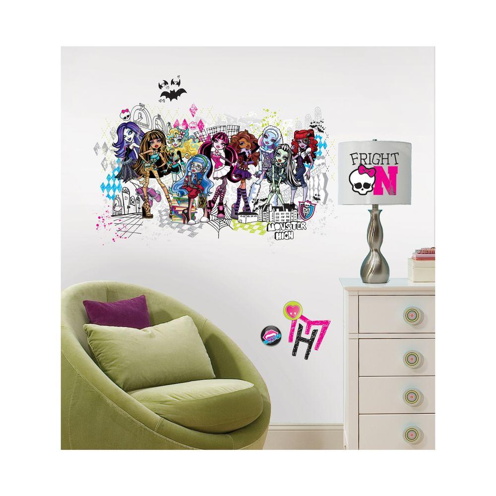 monster high group peel and stick giant wall decalsrmkgm  - monster high group peel and stick giant wall decals