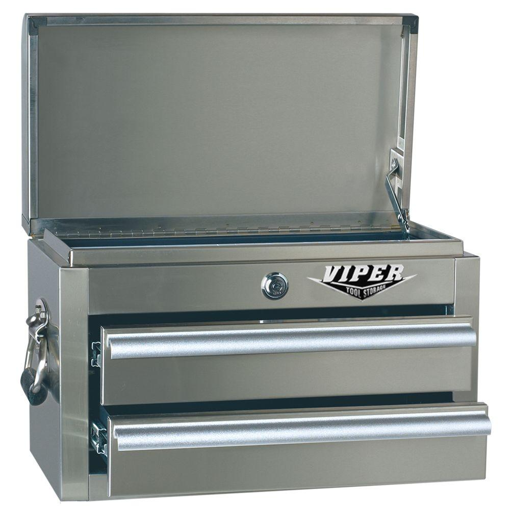 Viper Tool Storage 18 in. 2-Drawer Mini Chest with 304 Stainless Steel