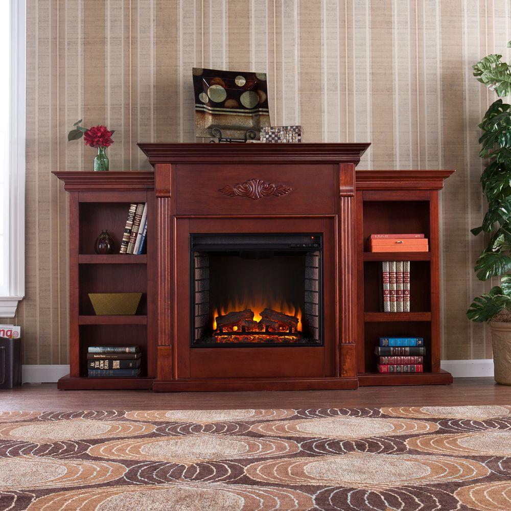 Southern Enterprises Jackson In Freestanding Media Electric Fireplace With Bookcases In