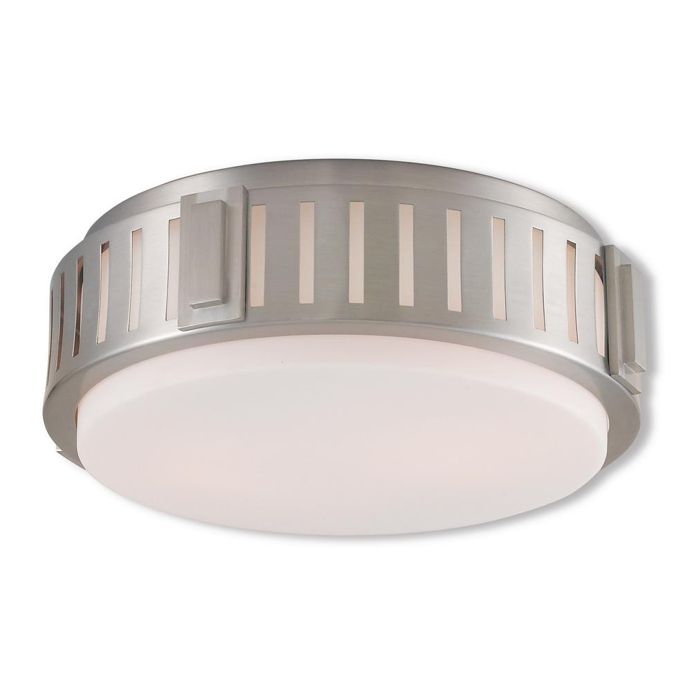 Portland 2-Light Brushed Nickel Flushmount