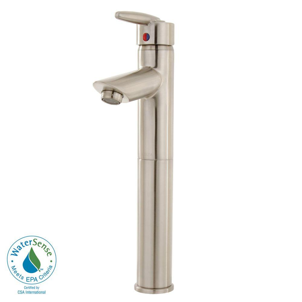 Delta Grail Single Hole 1-Handle High-Arc Bathroom Vessel Faucet in Stainless-DISCONTINUED