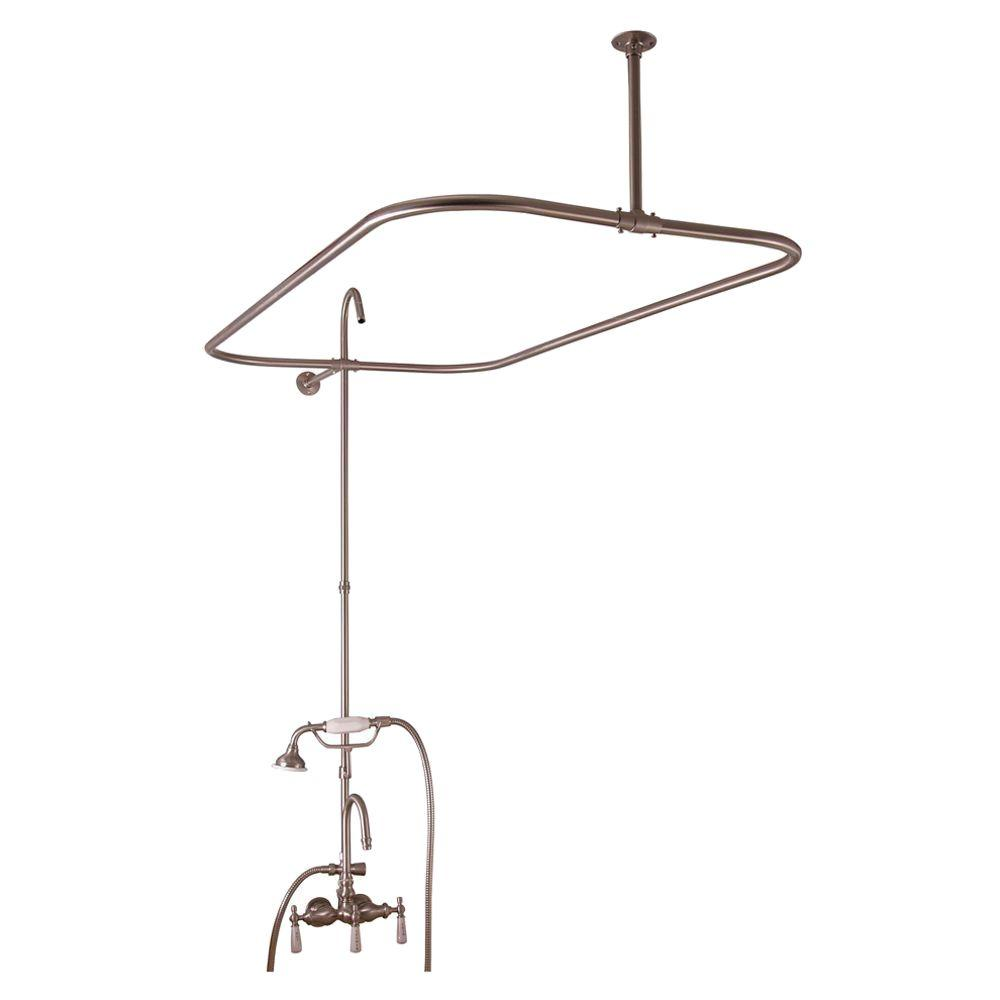 Barclay Products Porcelain Lever 3-Handle Claw Foot Tub Faucet with Riser and 48 in. Rectangular Shower Unit in Brushed Nickel