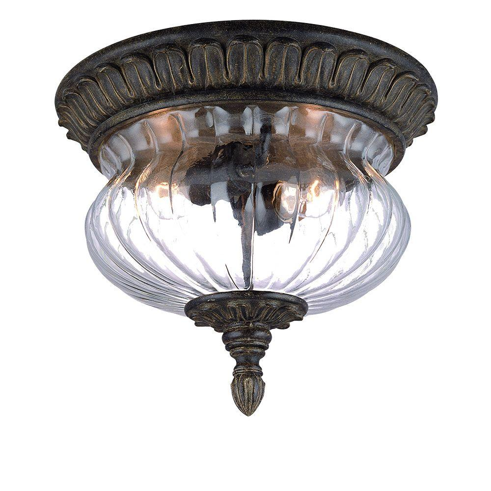 Acclaim Lighting Bel Air Collection Ceiling-Mount 2-Light Outdoor Black Coral Light Fixture