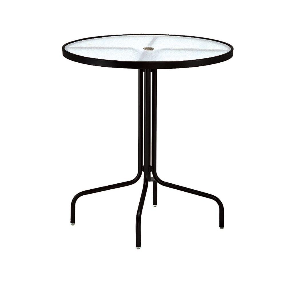 Black 36 in. Acrylic Top Commercial Patio Bar Table
