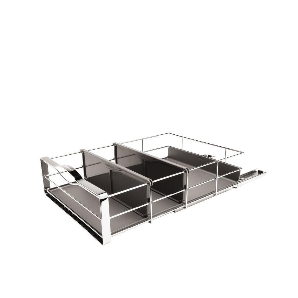 14 in. Pull-Out Cabinet Organizer in Polished Chrome and Grey