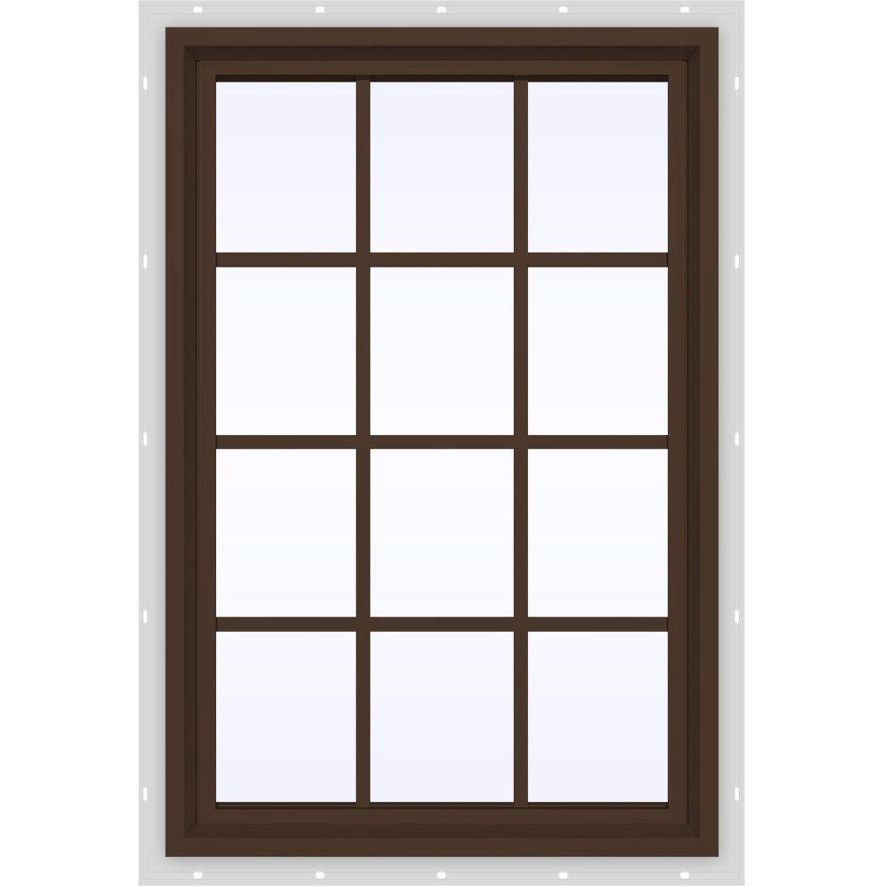 JELD-WEN 35.5 in. x 47.5 in. V-4500 Series Fixed Picture Vinyl Window with Grids in Bronze