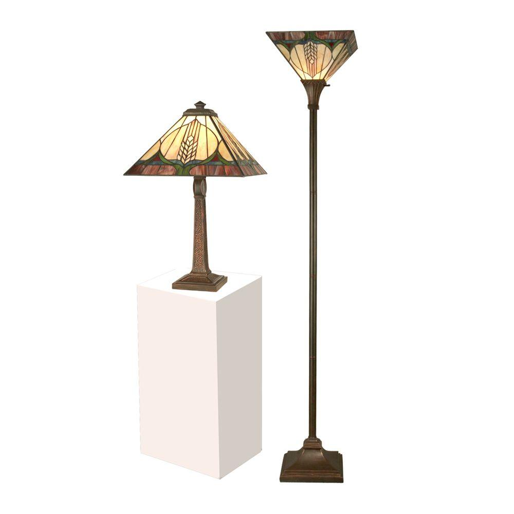 Dale Tiffany 72 in. Stanton Mission Table Lamp with Torchiere Combo Set