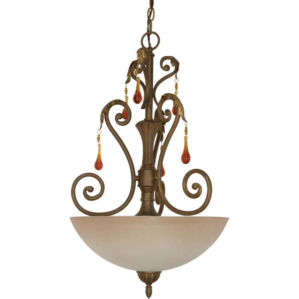 Glomar Cortina 3 Light Pendant with Amber Veil Glass Dune Gold Gold-DISCONTINUED