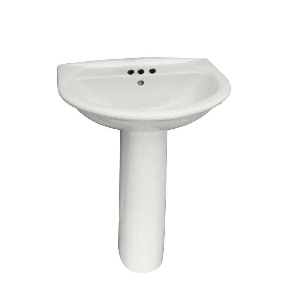 Barclay Products Karla 605 Pedestal Combo Bathroom Sink in White-3-304WH -