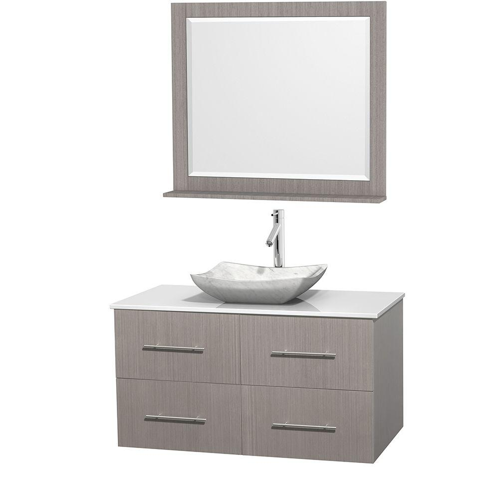 Wyndham Collection Centra 42 in. Vanity in Gray Oak with Solid-Surface Vanity Top in White, Carrara Marble Sink and 36 in. Mirror