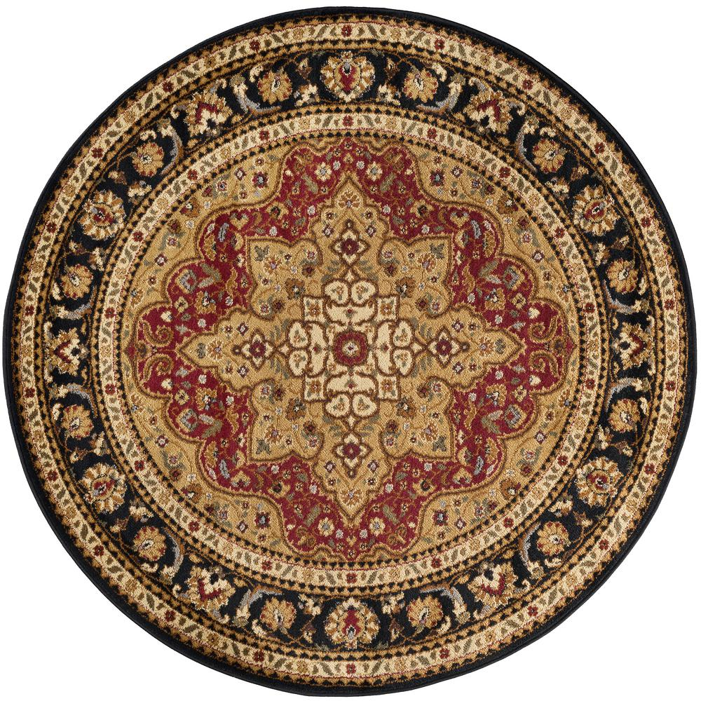 Elegance Red 7 ft. 10 in. x 7 ft. 10 in. Round Traditiona...
