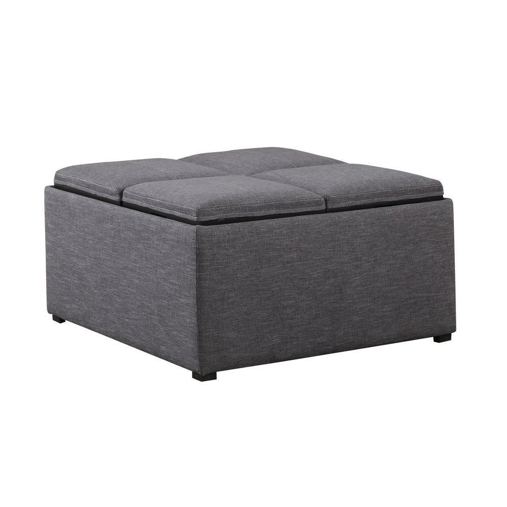 Simpli home avalon linen type fabric coffee table storage ottoman in slate grey shop your way Linen ottoman coffee table