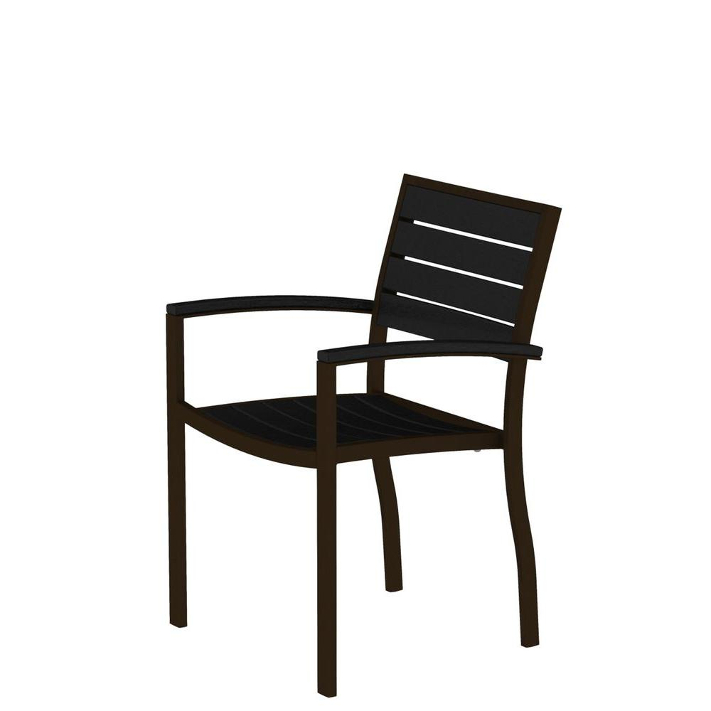 Euro Textured Bronze Patio Dining Arm Chair with Black Slats
