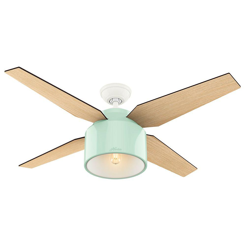 Hunter Cranbrook 52 in. LED Indoor Mint Ceiling Fan-59258 - The