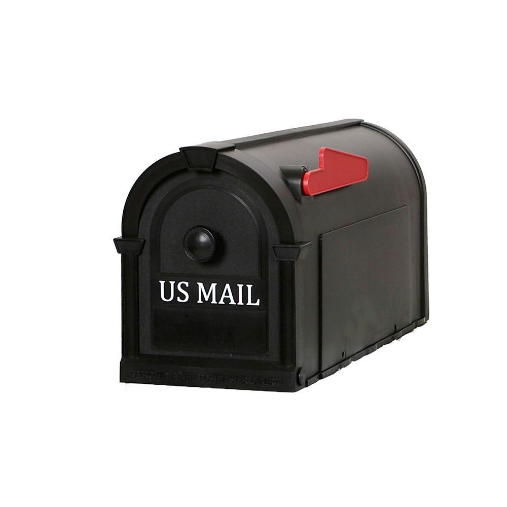 Postal Pro Hampton Post-Mount Mailbox in Black with White Lettering-PP1100BL -