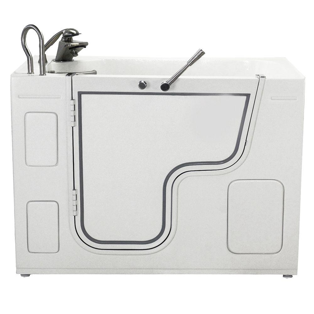 Ella Wheelchair Transfer Air and Hydrotherapy Massage Outward Swing 4 ft. Walk-In Bathtub in White with Left Drain