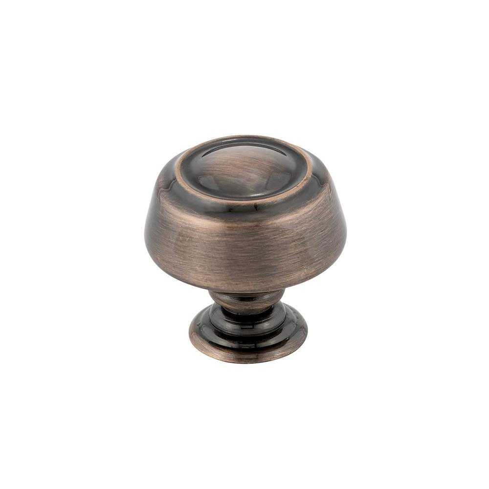 Traditional 1-3/16 in. (30 mm) Antique Copper Round Cabinet Knob