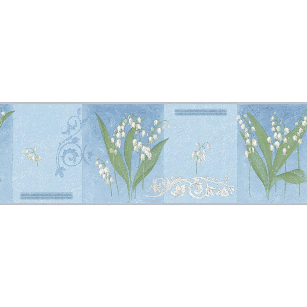 The Wallpaper Company 8 in. x 10 in. Blue Lily of The Valley Border Sample-DISCONTINUED
