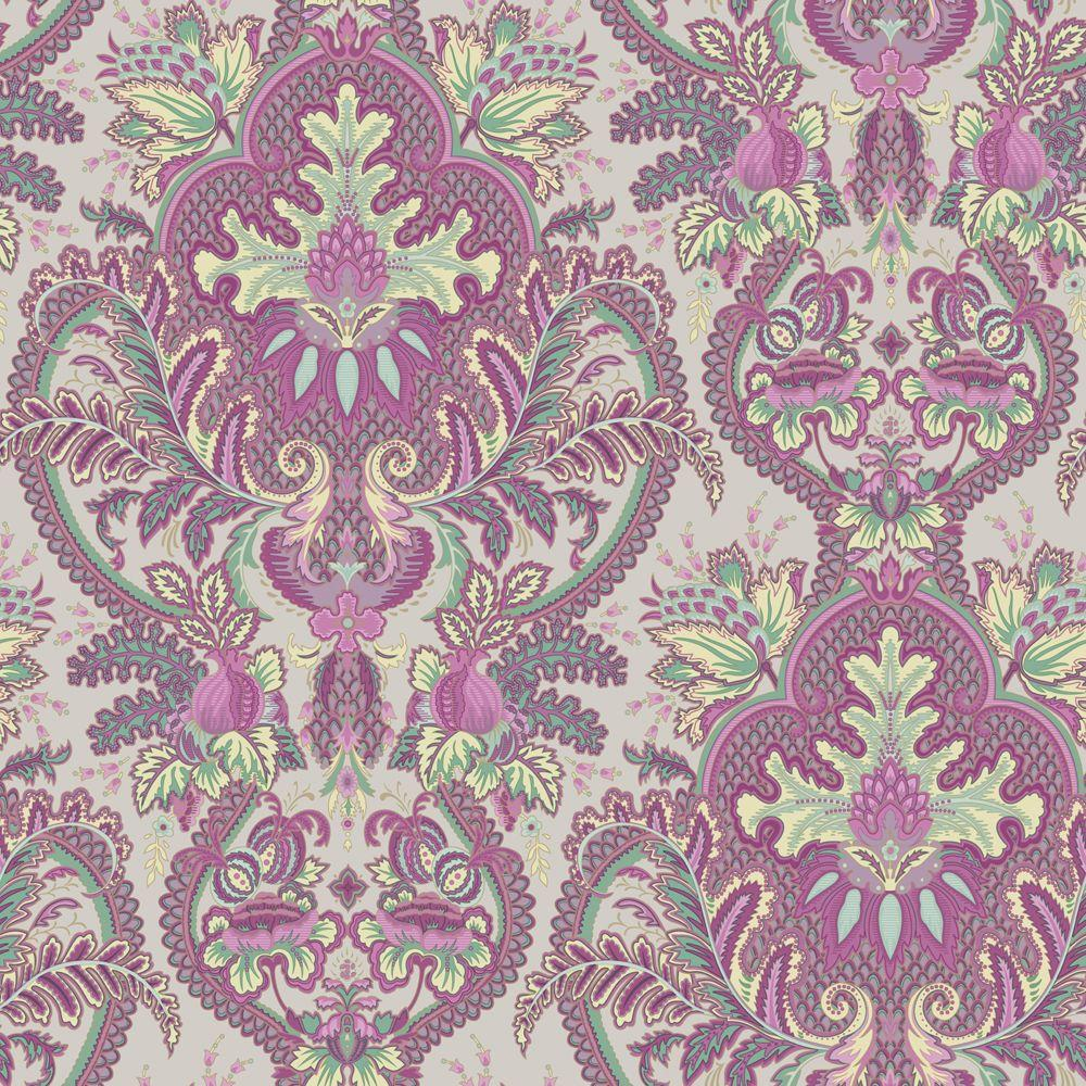 Wallpaper: The Wallpaper Company Wallpaper 56 sq. ft. Small Paisley Damask Fuscia/Seafoam Wallpaper Red/Orange WC1287310