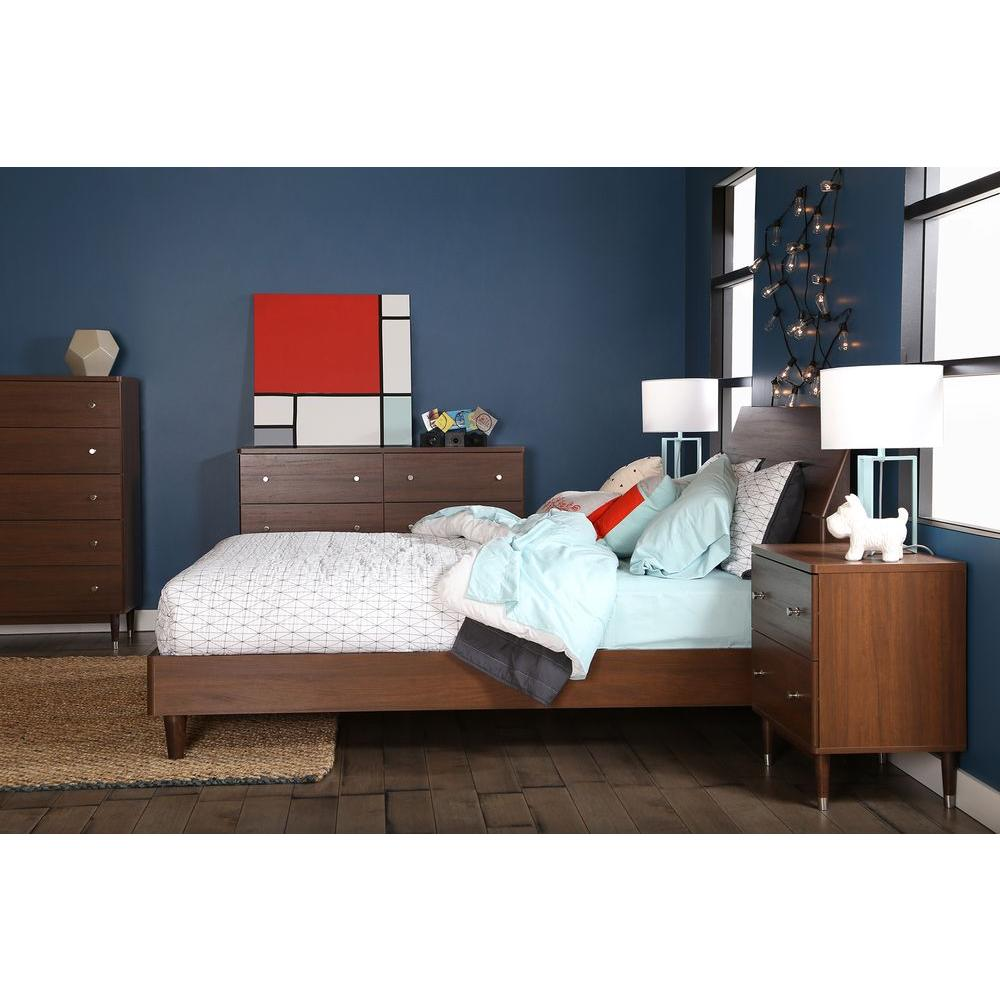 South Shore Olly 6-Drawer Mid-Century Modern Double Dresser in Brown