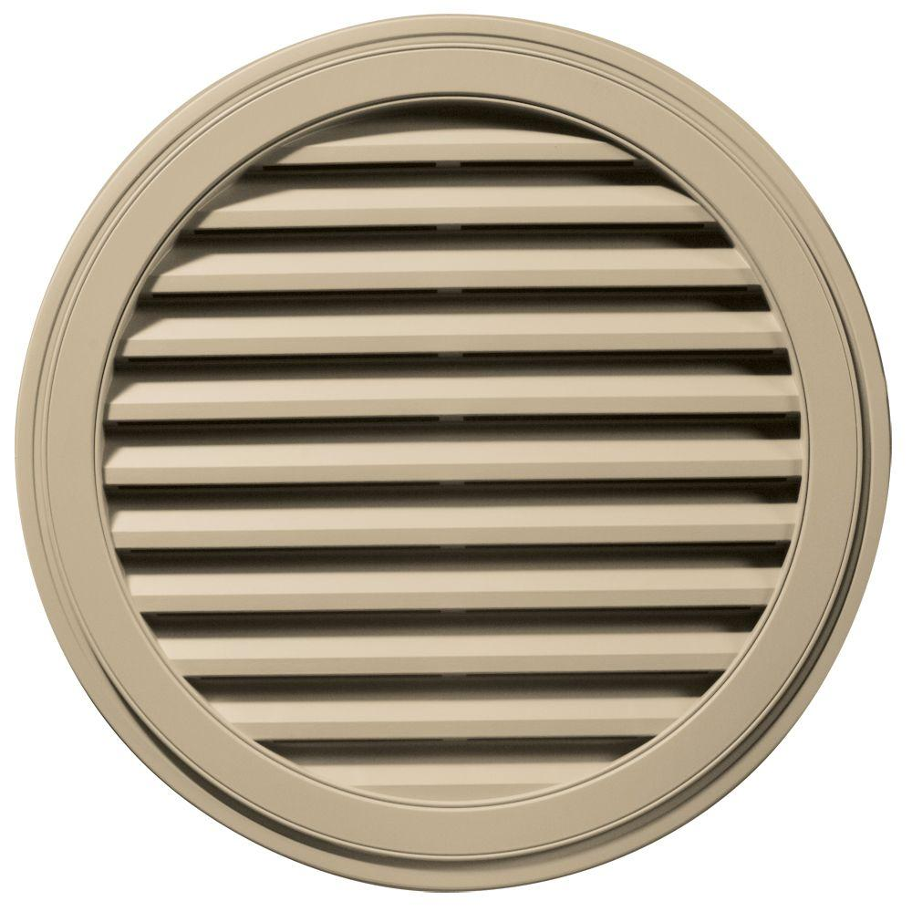 36 in. Round Gable Vent in Light Almond