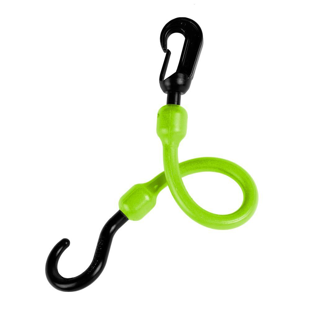 12 in. Polyurethane Fixed End Bungee Cord with Molded Nylon Hook