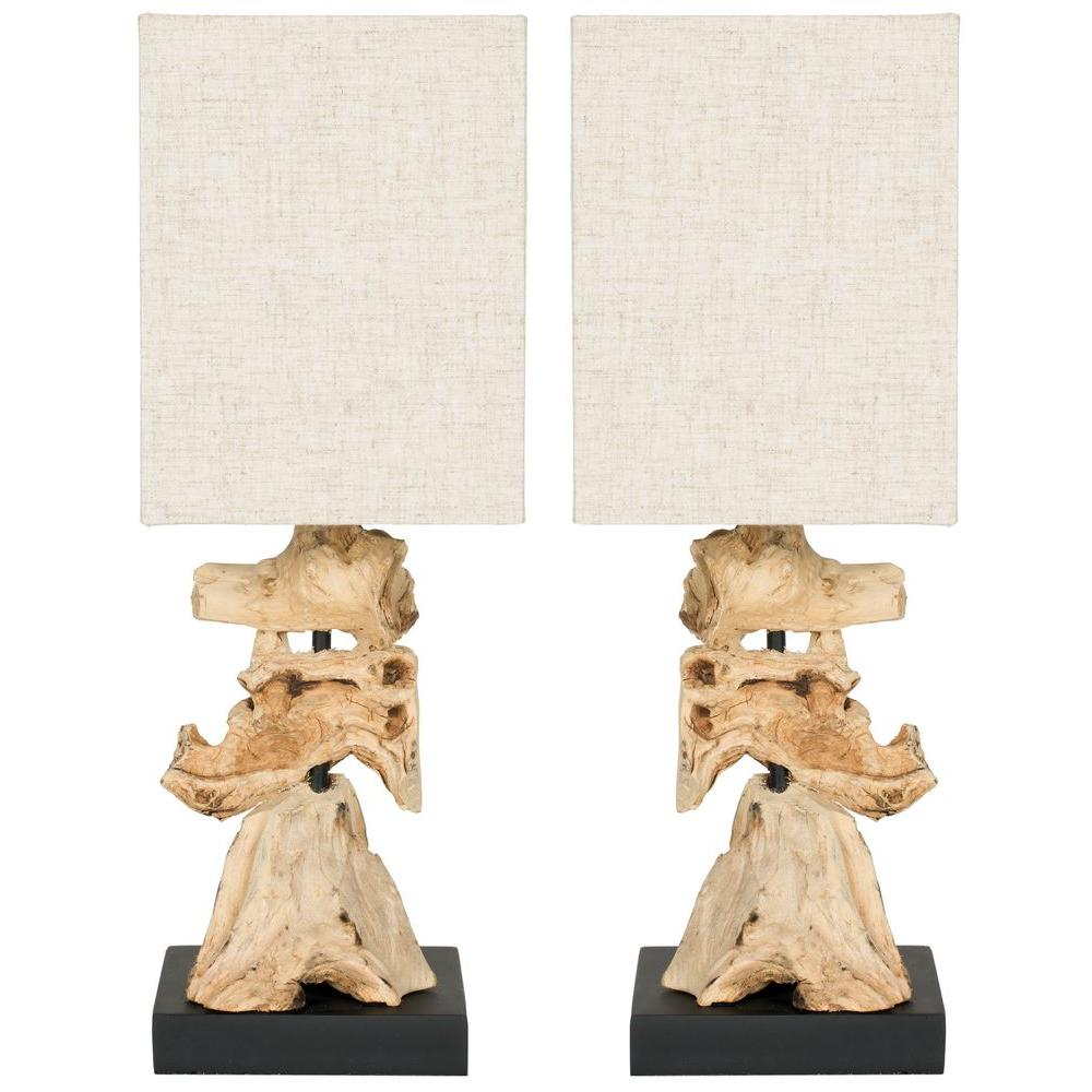 Safavieh Oregon Root 19.7 in. Bleach Mini Table Lamp with Linen Shade (Set of 2)