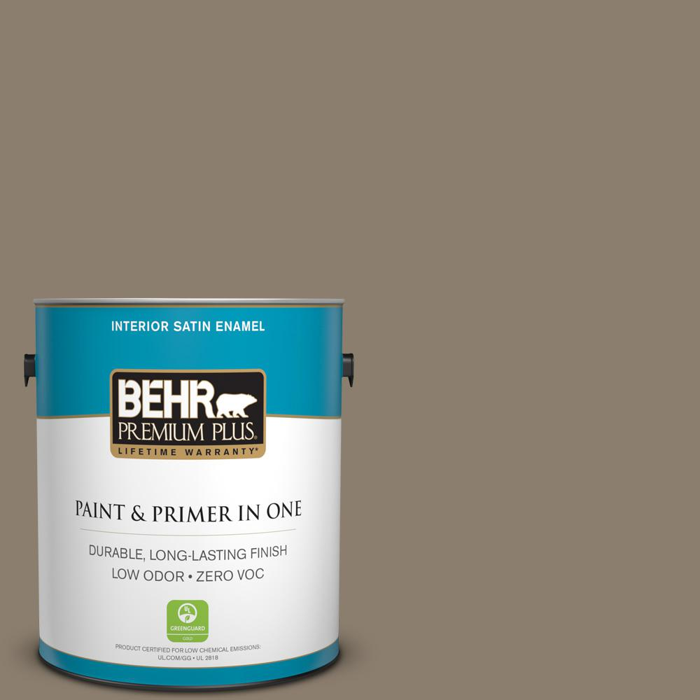 BEHR Premium Plus 1-gal. #BNC-36 Restful Brown Satin Enamel Interior Paint