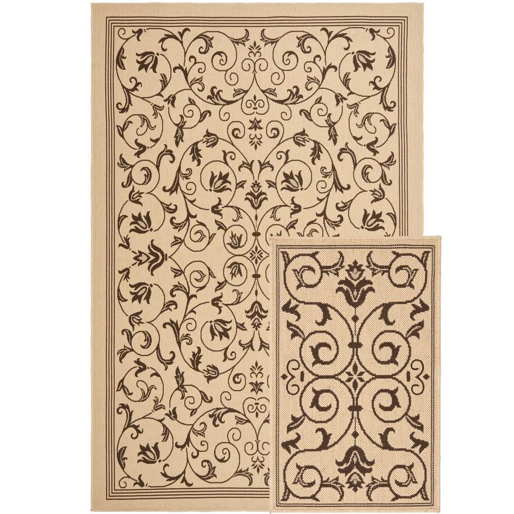 null Courtyard Natural/Chocolate Leaf 6 ft. 6 in. x 9 ft. 6 in. 2-Piece Indoor/Outdoor Rug Set