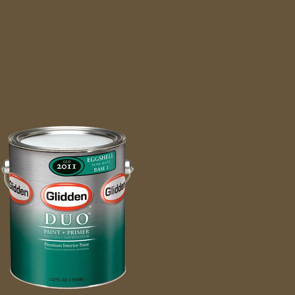 Glidden DUO 1-gal. #GLN26 Leather Brown Eggshell Interior Paint with Primer
