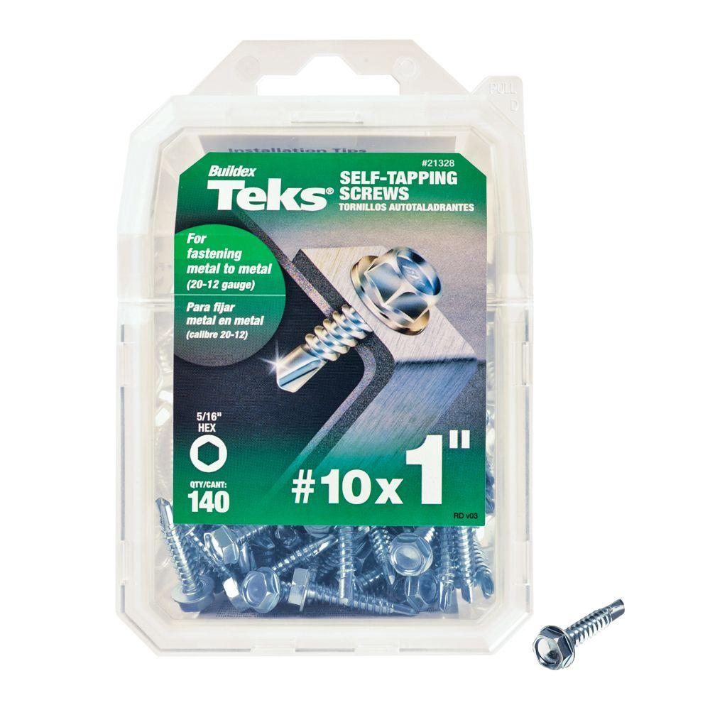 Teks #10 x 1 in. Zinc Plated Hex-Washer-Head Self Tapping Drill Point Screws (140-per Pack)
