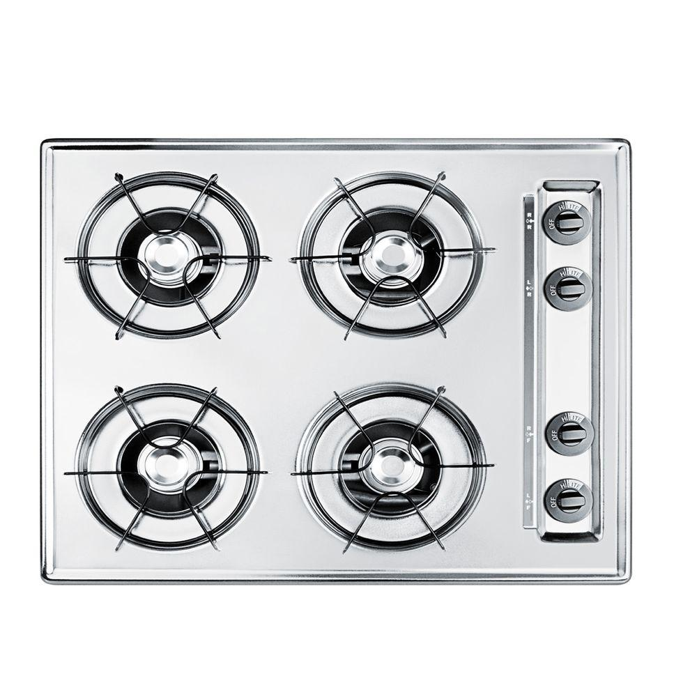 null 24 in. Gas Cooktop in Brushed Chrome with 4 Burners
