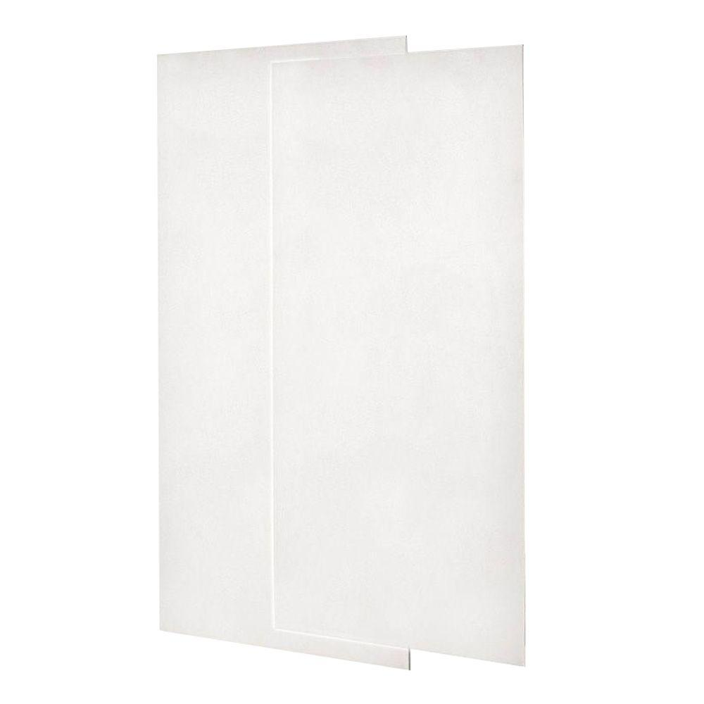 Swan 1/4 in. x 36 in. x 96 in. 2-Piece Easy Up Adhesive Shower Wall Panel in Tahiti Ivory
