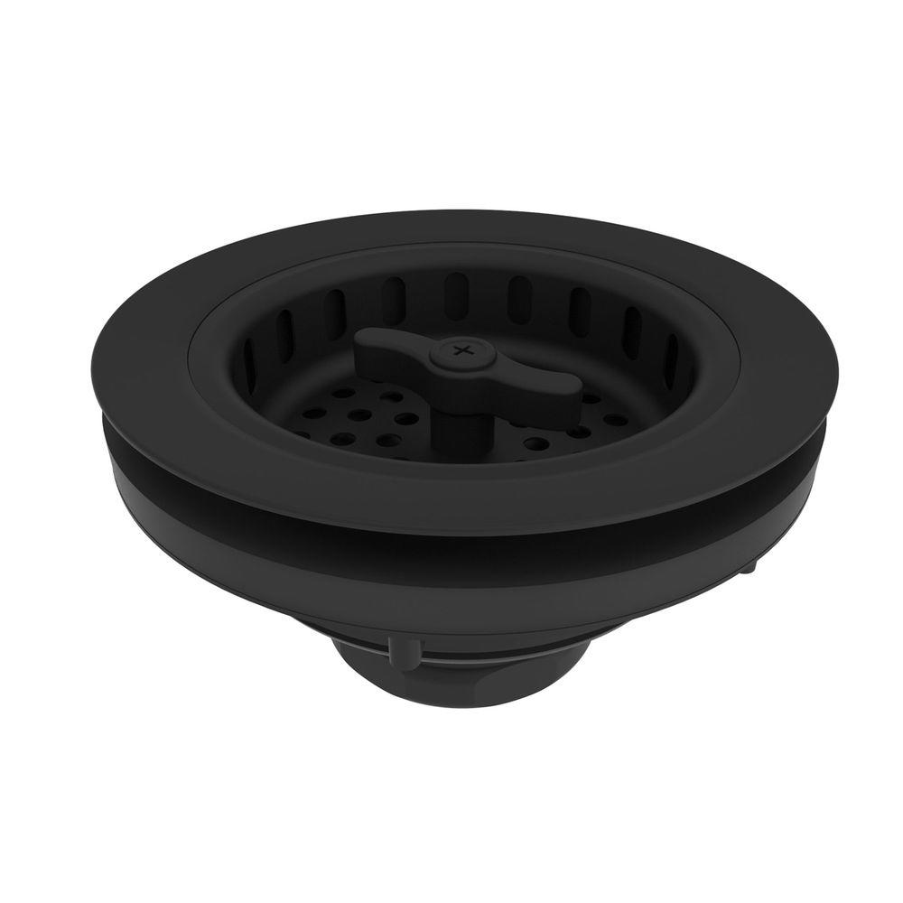 3.5 in. Kitchen Basket Strainer in Flat Black