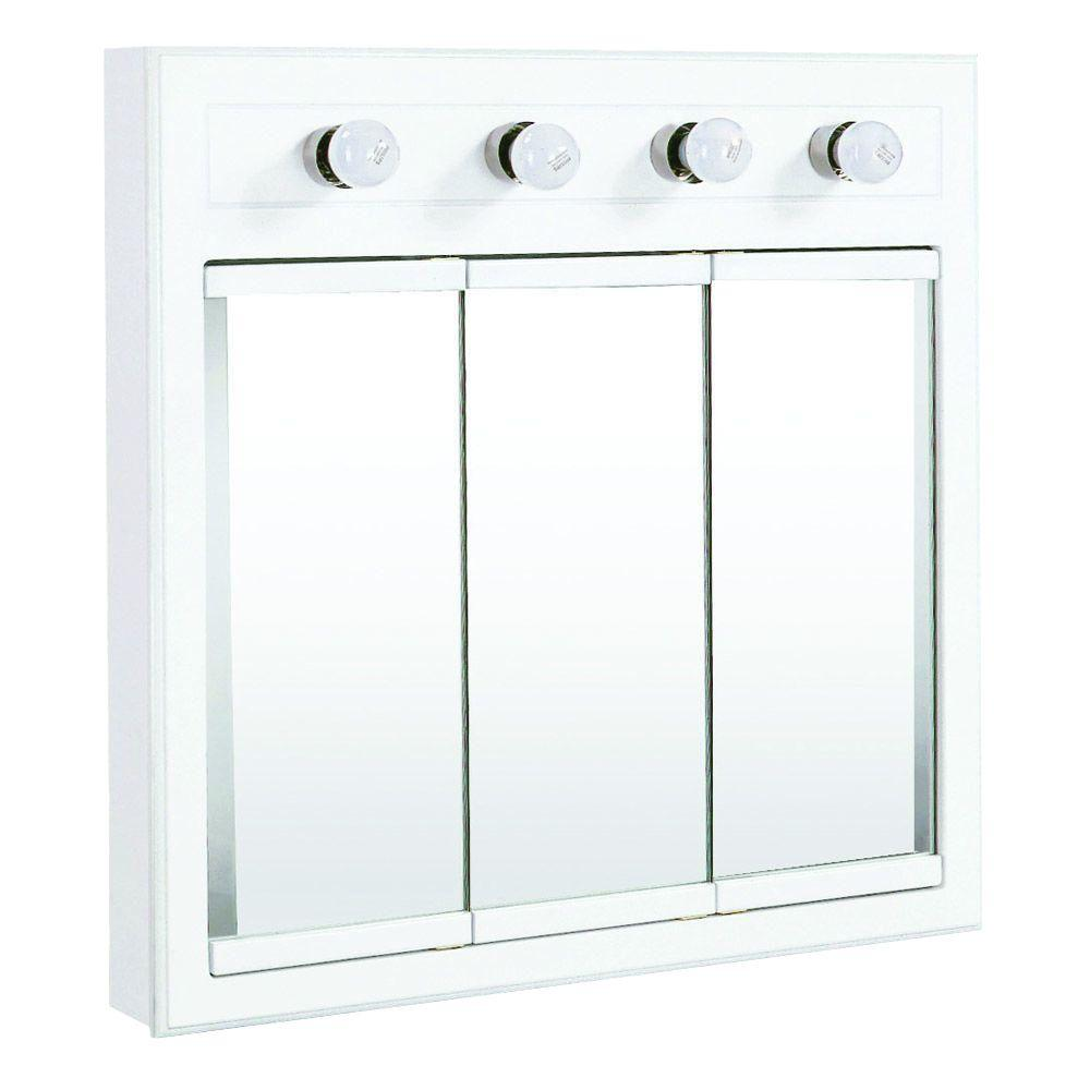 Concord 30 in. x 30 in. 4-Light Tri-View Surface-Mount Medicine Cabinet