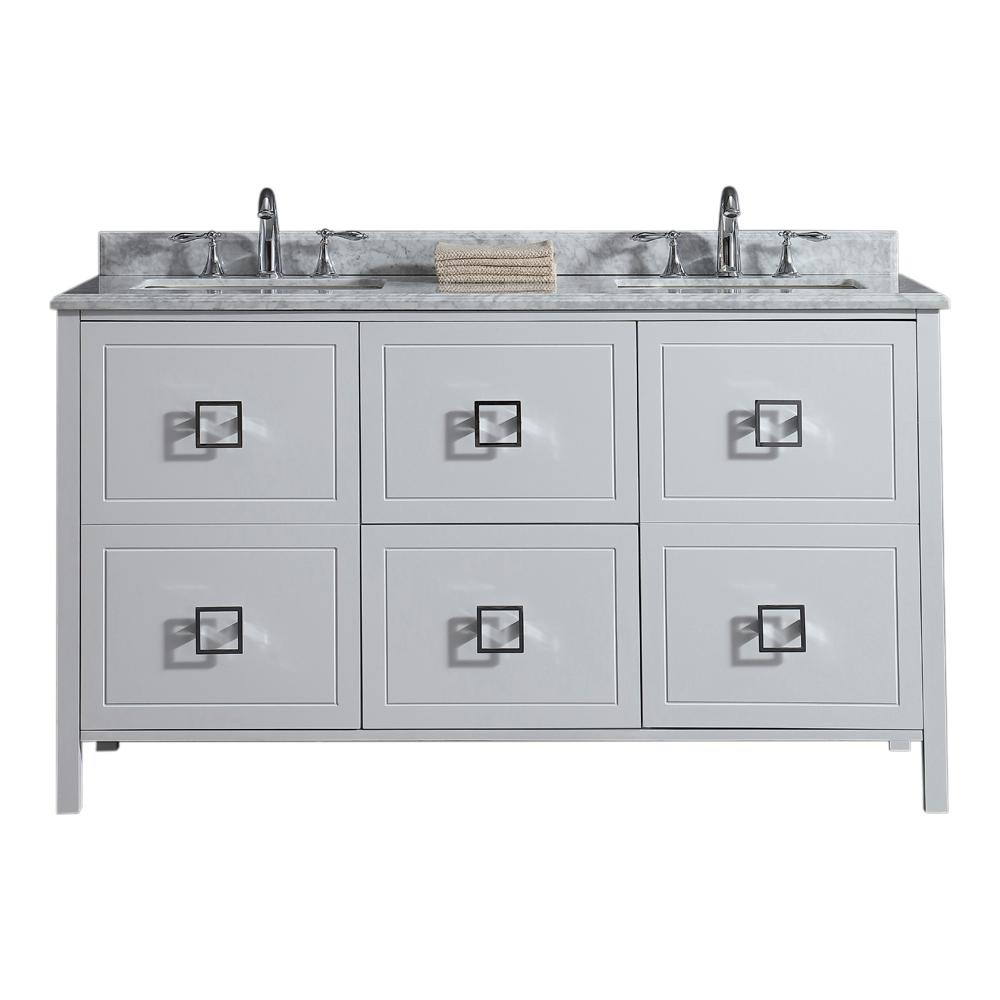 Drexel 60 in. W Vanity in White with Marble Vanity Top