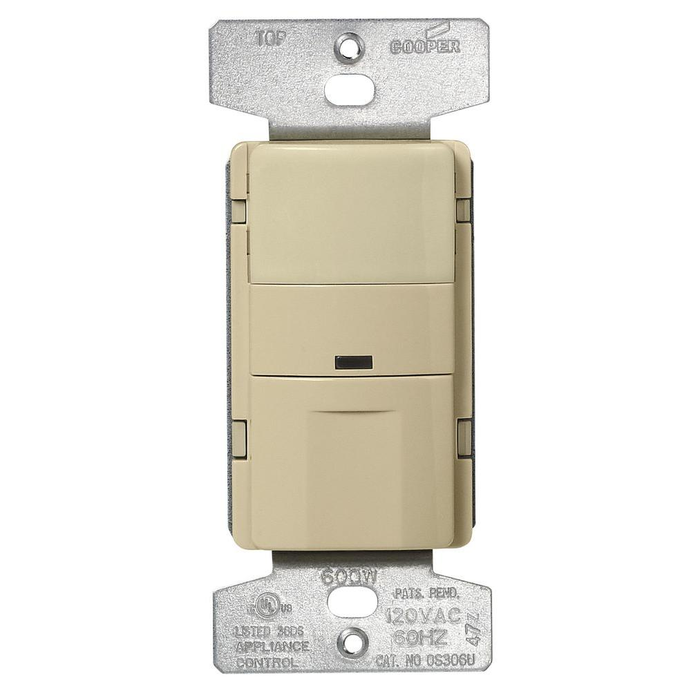 600-Watt 3-Way and Single Pole Infrared Wall Mount Vacancy Sensor, Ivory