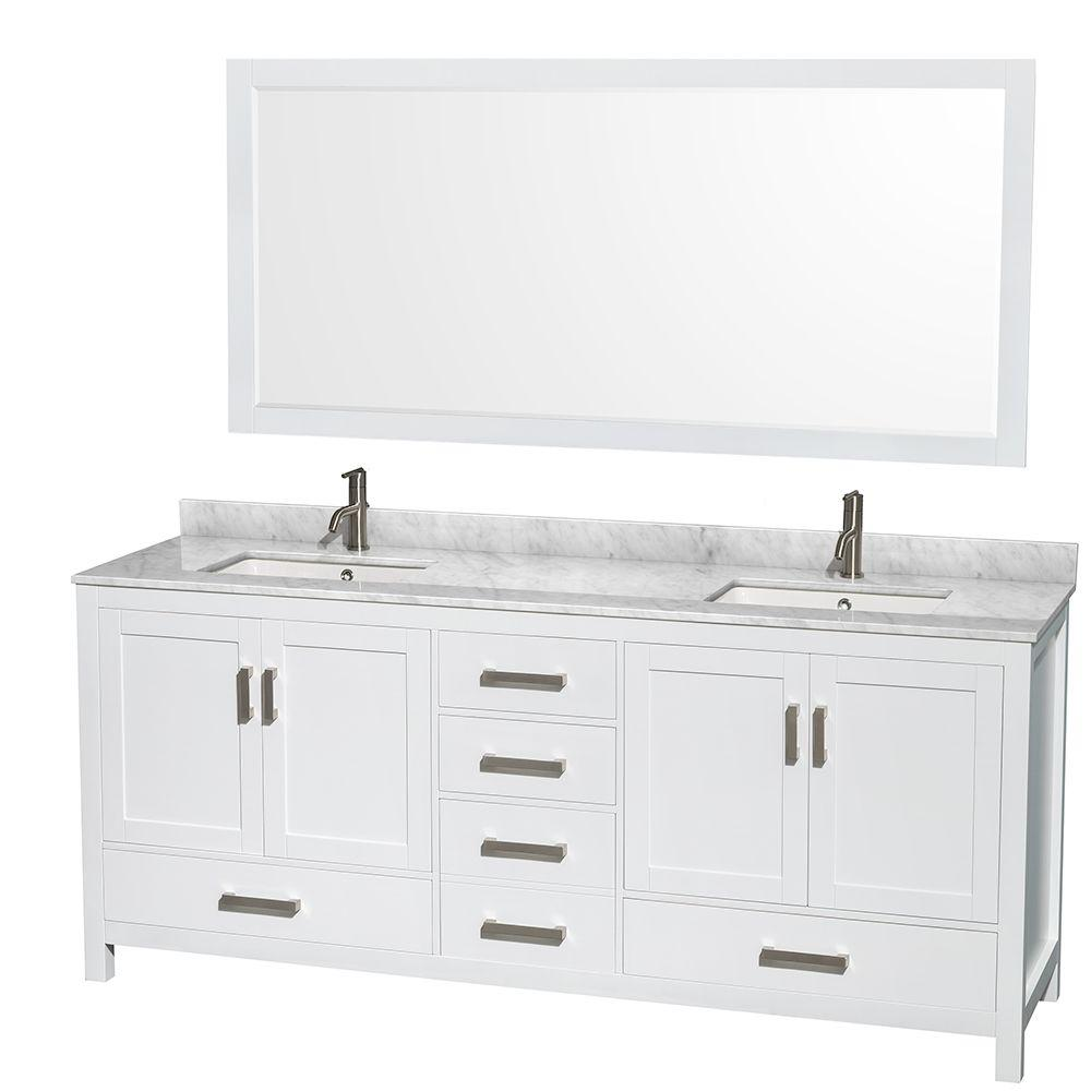 Wyndham Collection Sheffield 80 in. Double Vanity in White with Marble Vanity Top in Carrara White and 70 in. Mirror