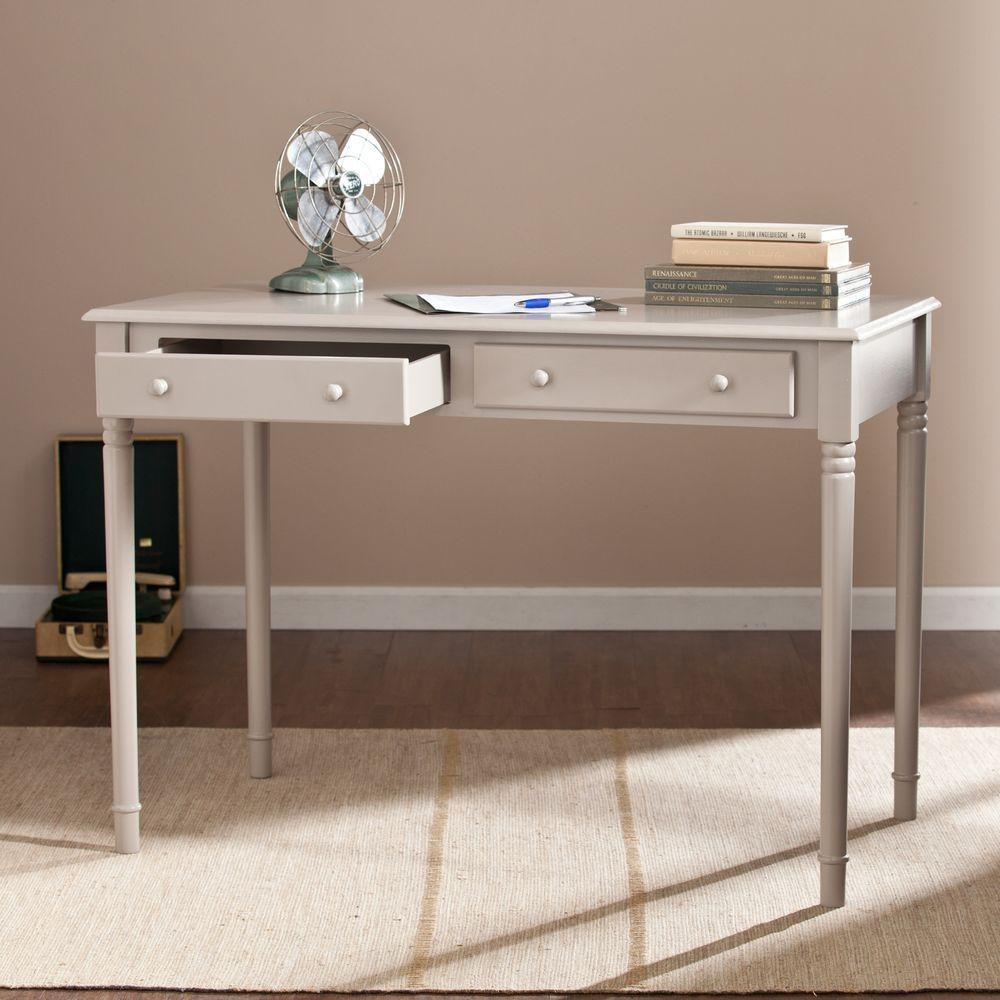 Southern Enterprises Orla 2-Drawer Writing Desk in Gray-HD865690 - The Home