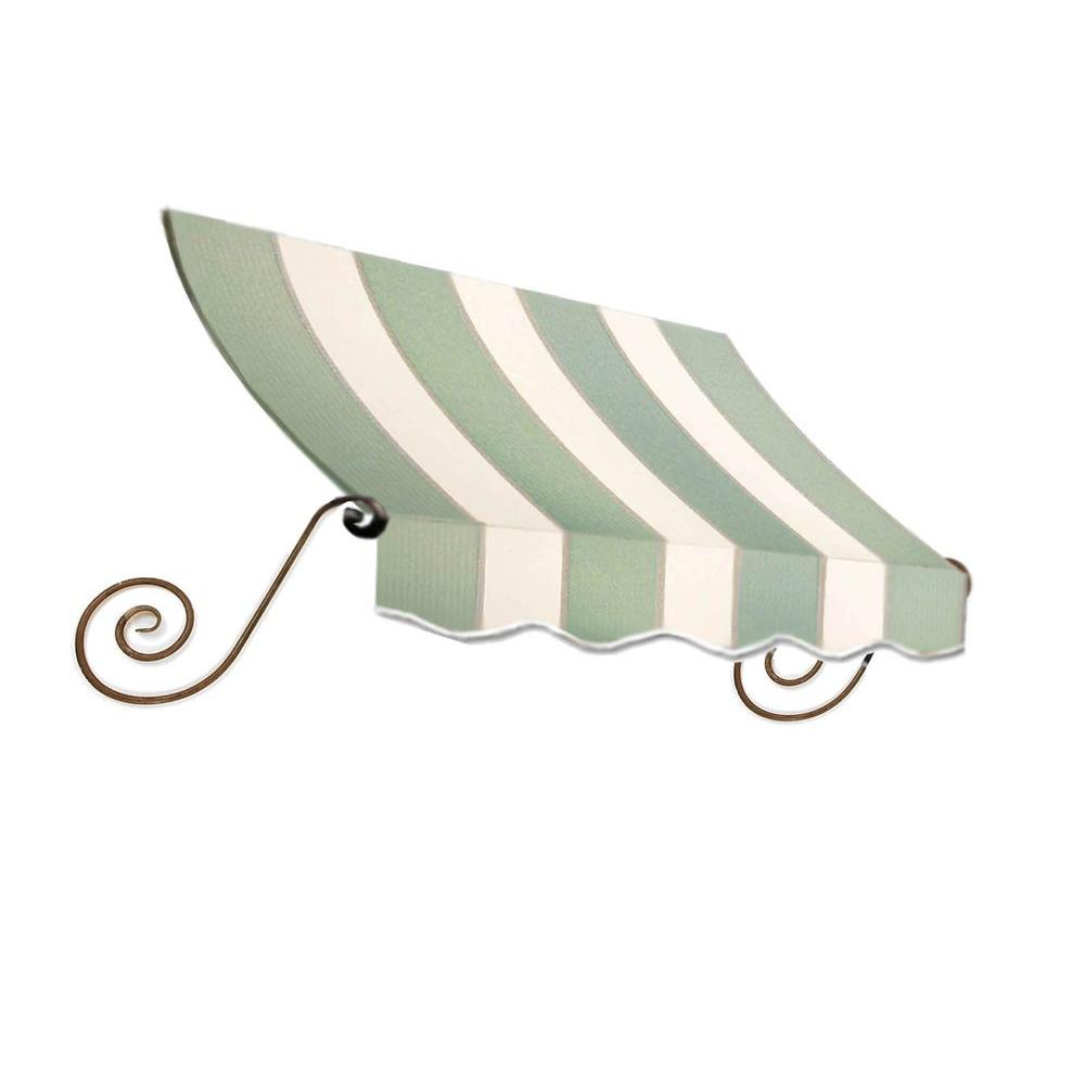 AWNTECH 5 ft. Charleston Window Awning (24 in. H x 12 in. D) in Sage/Linen/Cream Stripe, Green