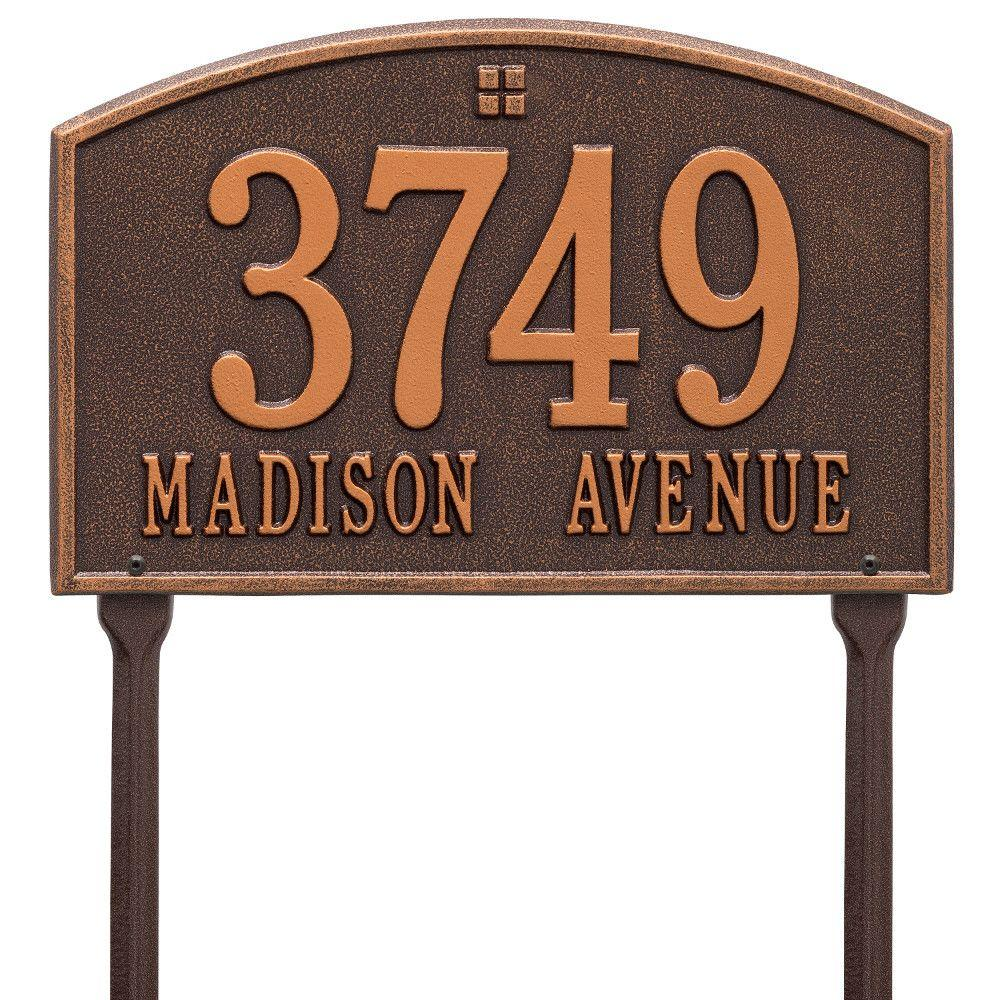 Whitehall Products Cape Charles Rectangular Antique Copper Standard Lawn 2-Line Address Plaque