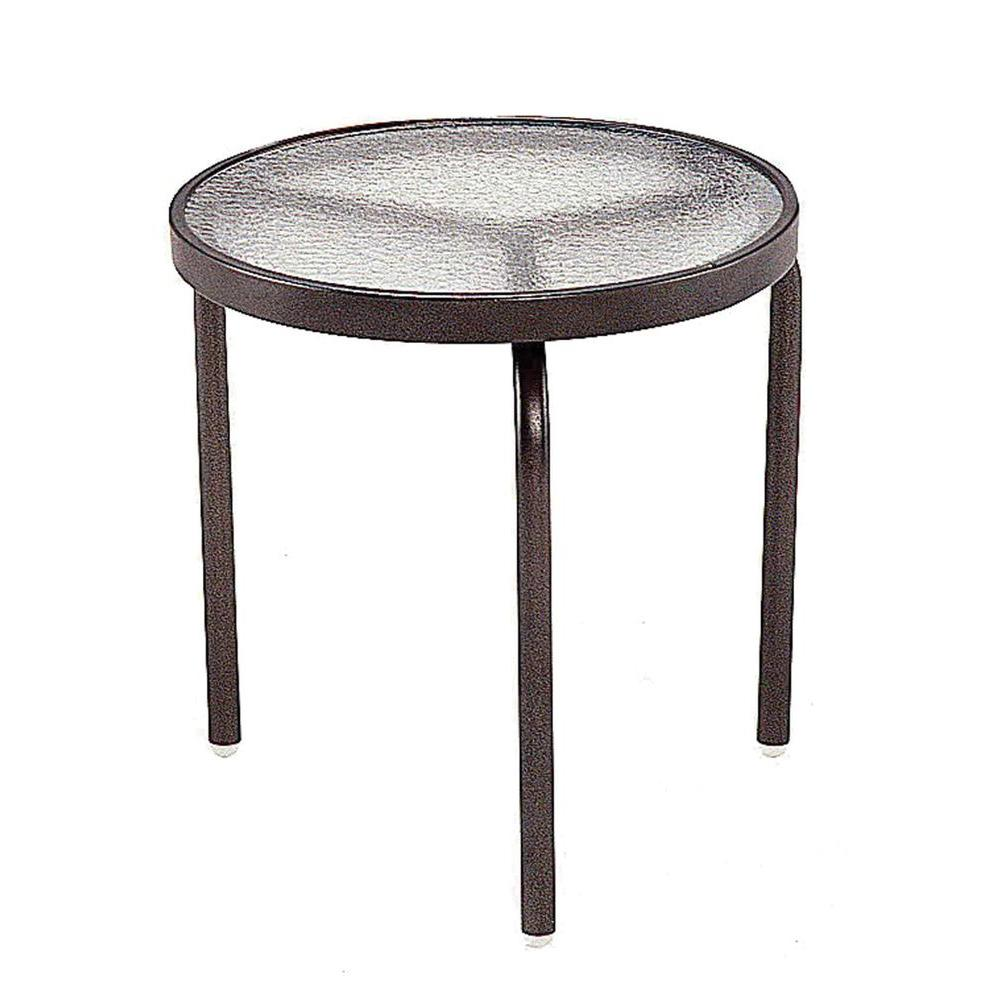 Tradewinds 18 in. Java Acrylic Top Commercial Patio Side Table