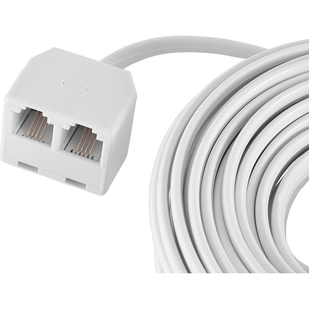 GE 25 ft. Dual Jack Line Cord - White-76572 - The