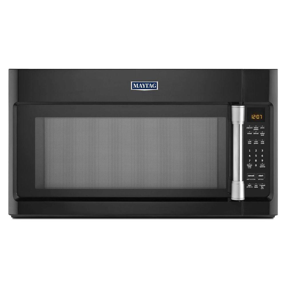 Home kitchen appliances microwaves over the range microwaves - Over The Range Microwave In Black With Stainless Steel Handle With