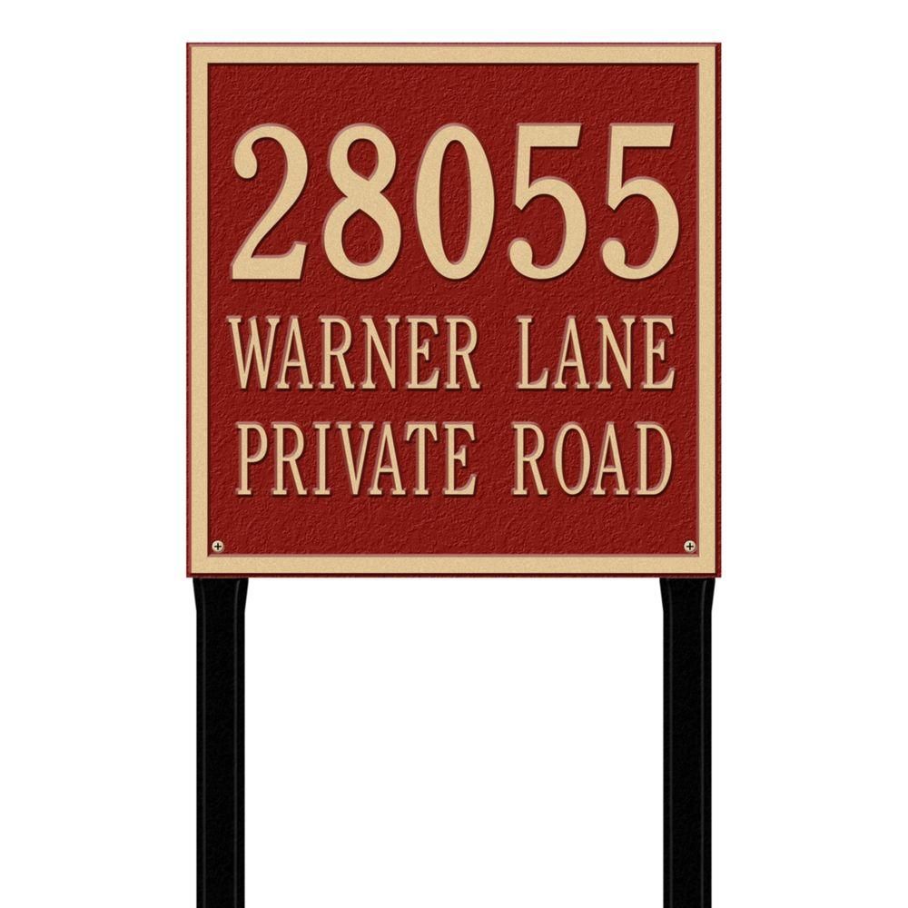 Whitehall Products Square Estate Lawn 3-Line Address Plaque - Red/Gold-2121RG -