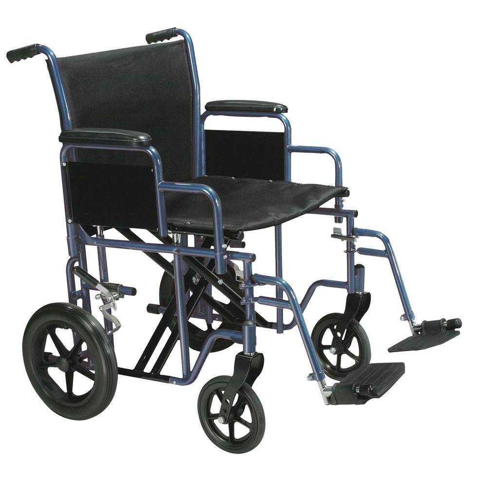 Bariatric Heavy Duty Transport Wheelchair with Swing Away Footrest and 22