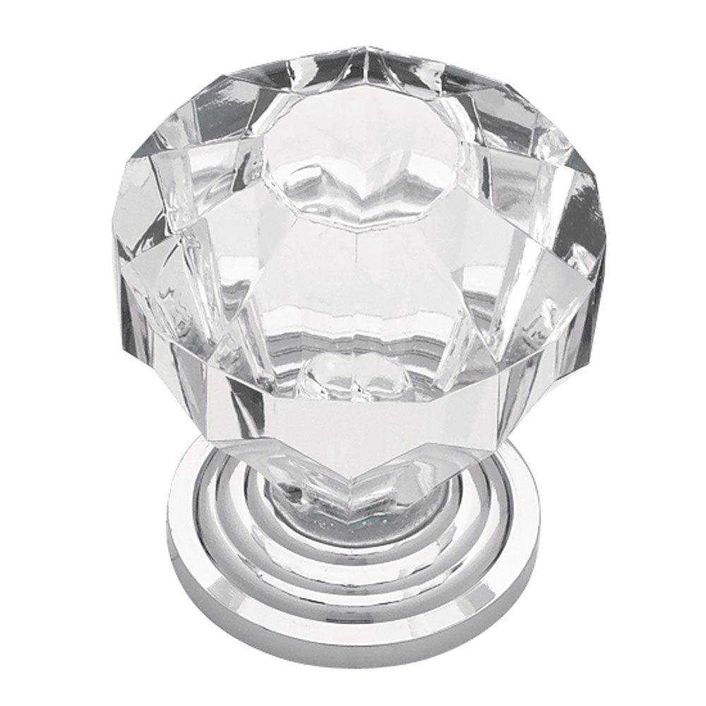 Liberty 1-1/4 in. Chrome with Clear Faceted Acrylic Cabinet Knob