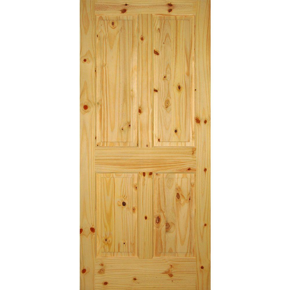 Builder 39 s choice 36 in x 80 in 4 panel solid core knotty pine single prehung interior door for Solid wood interior doors home depot
