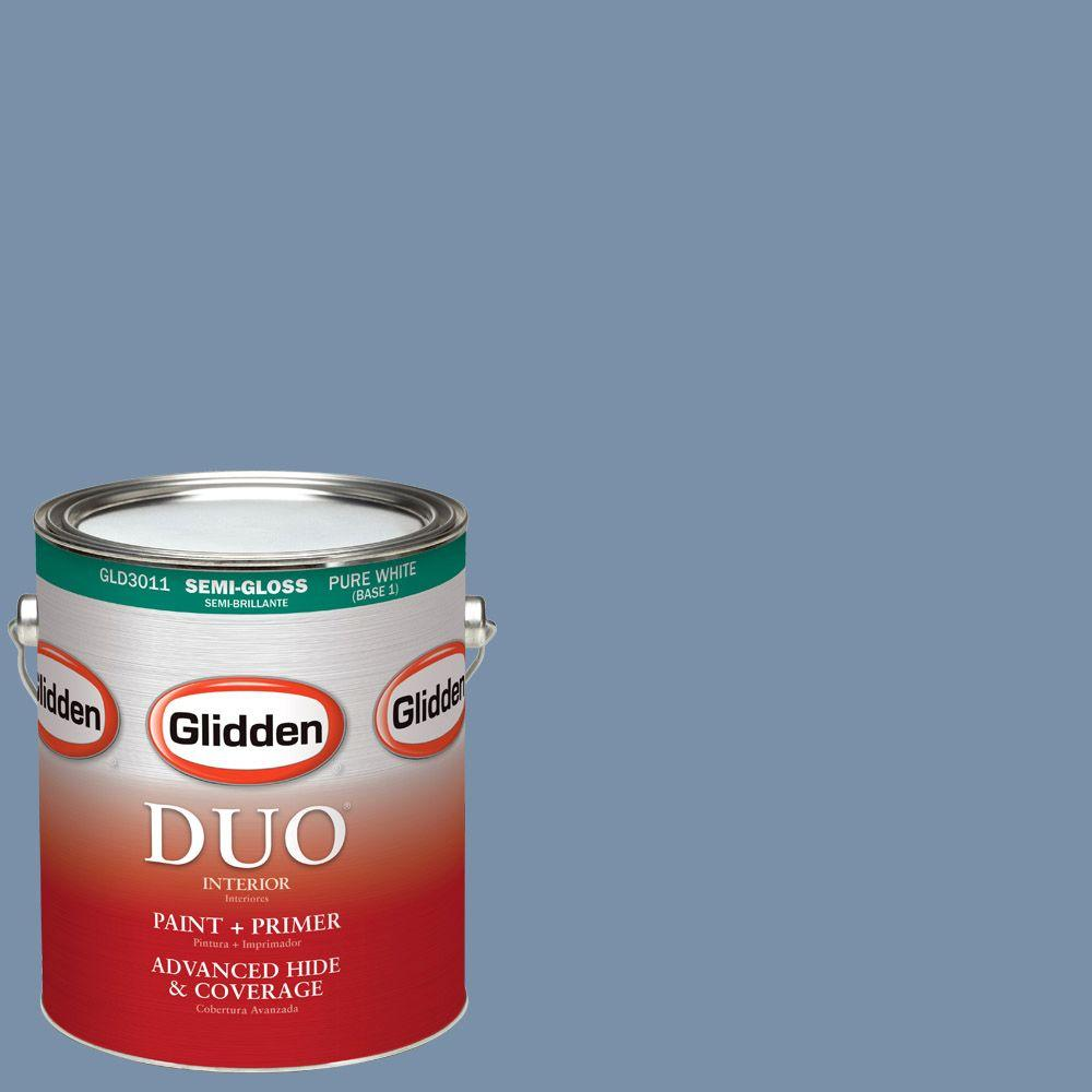 Glidden DUO 1-gal. #HDGV25D At Peace Blue Semi-Gloss Latex Interior Paint with Primer