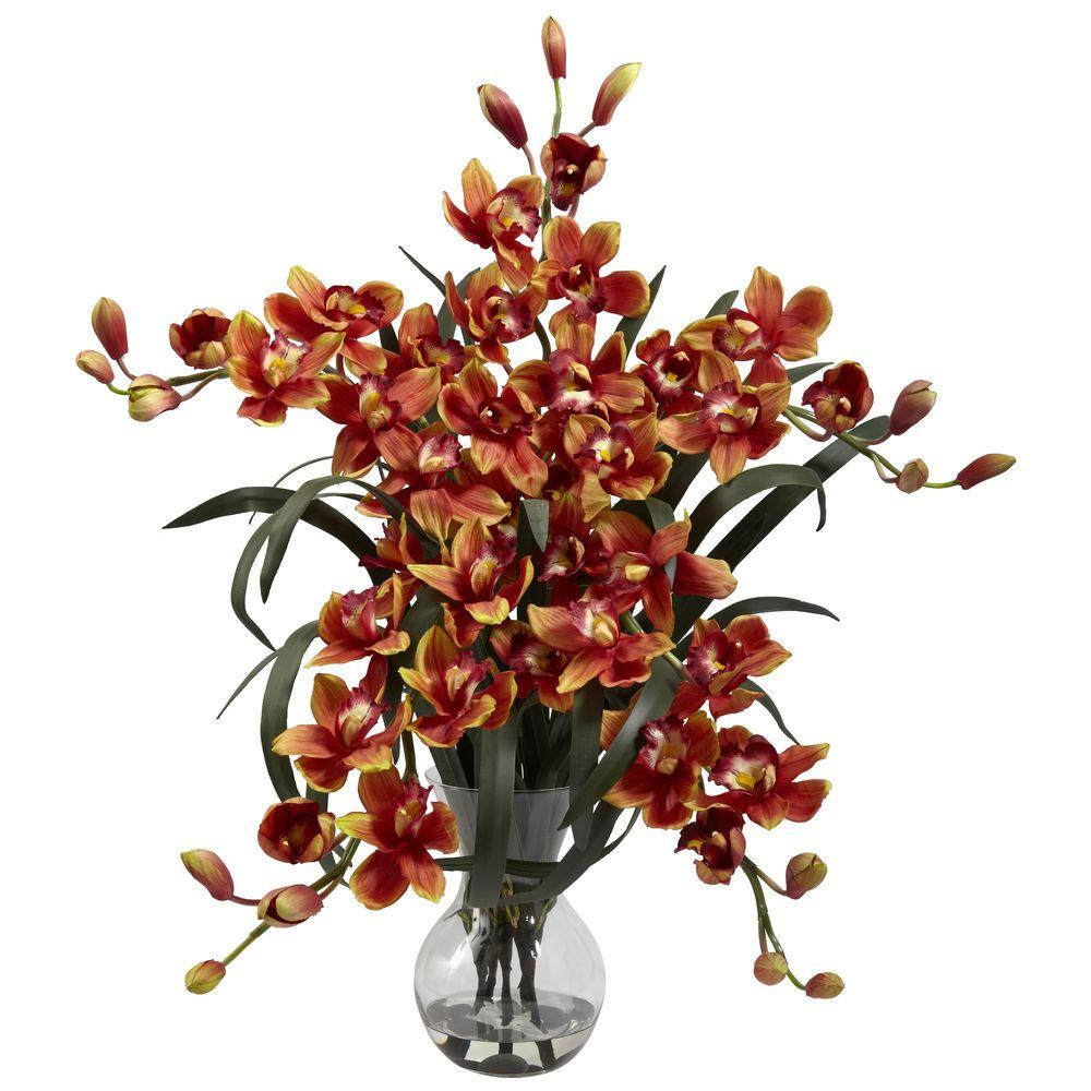 Nearly Natural Large Cymbidium with Vase Arrangement in Burgundy